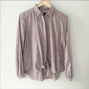 ANN TAYLOR | Striped Tie Knot Button Down Top